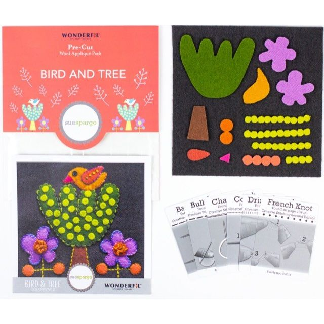 | Wool Applique Pack Bird and Tree-2