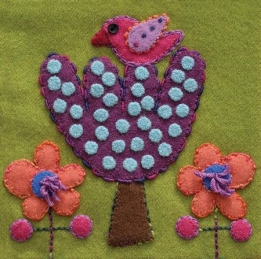 Wool Applique Pack Bird and Tree-3
